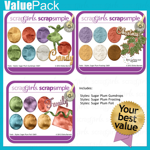 "You may also like <a href=""http://store.scrapgirls.com/value-pack-sugar-plum-styles-p27512.php"">Value Pack: Sugar Plum Styles</a> (sold separately)"