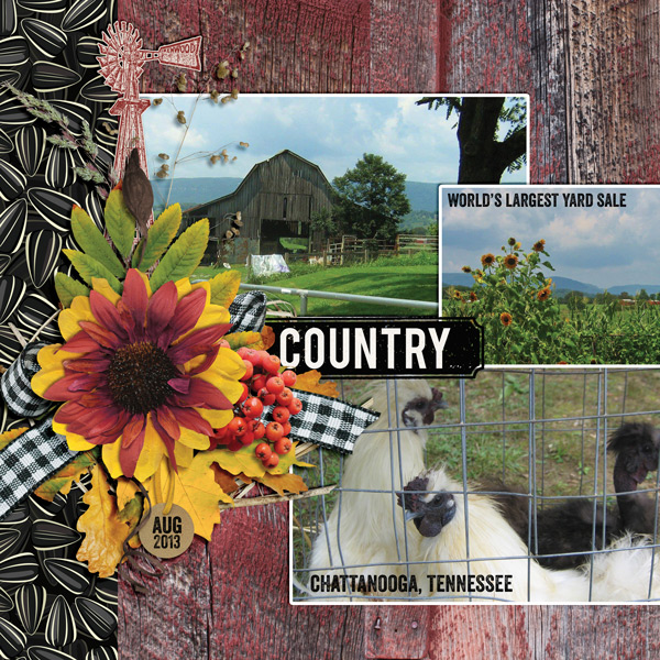 """Country"" layout created using the Barnwood Collection Biggie"