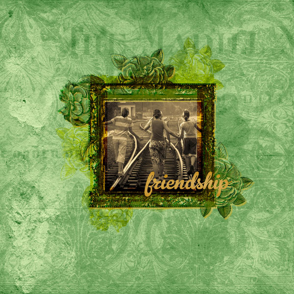 """""""Friendship"""" layout created using the Grungy Flourishes Paper Mini"""