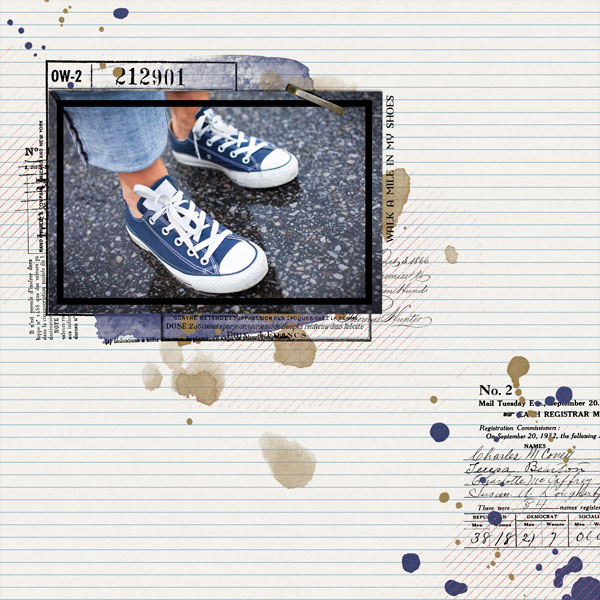 """""""In My Shoes"""" layout created using the Brush Set: Paperazzi Biggie 1"""