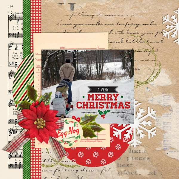 """A Very Merry Christmas"" layout created using the Christmas Shopping Collection"