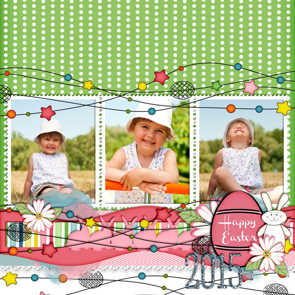 """Happy Easter"" layout created using the Cottontail Collection Biggie"