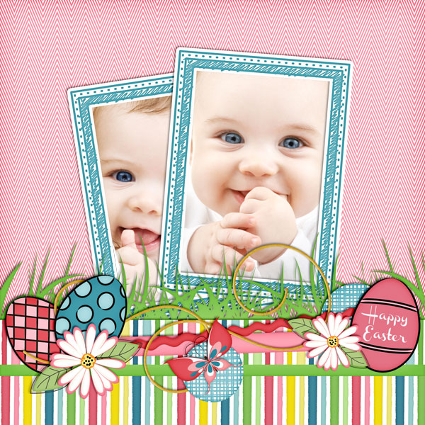 """Easter Baby"" layout created using the Cottontail Collection Biggie"