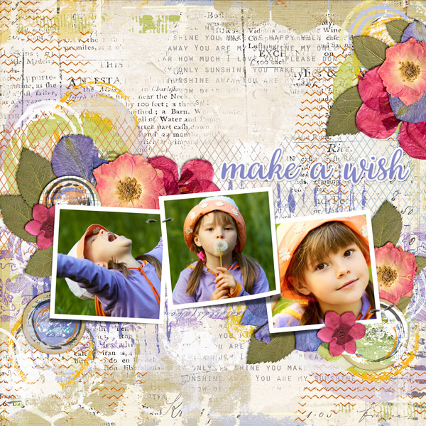 """Make a Wish"" layout created using the Mixed Up Papers 1"
