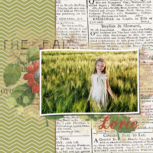 """""""Lorie"""" layout created using the Mixed Up Transfers Embellishment Mini 2"""