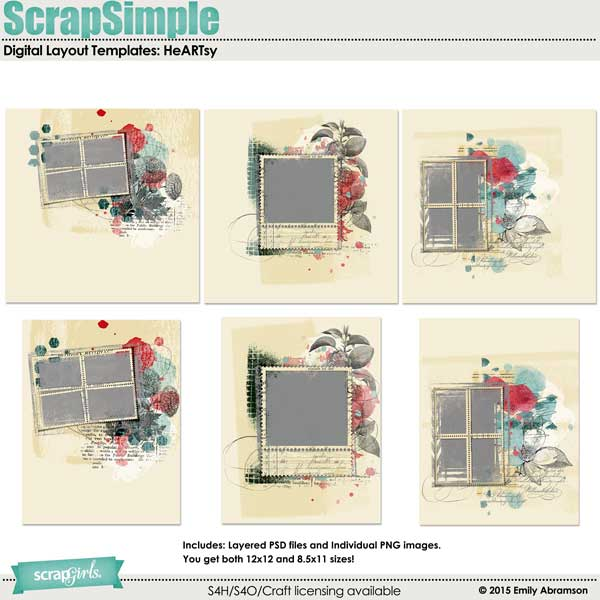 ScrapSimple Digital Layout Templates: HeARTsy