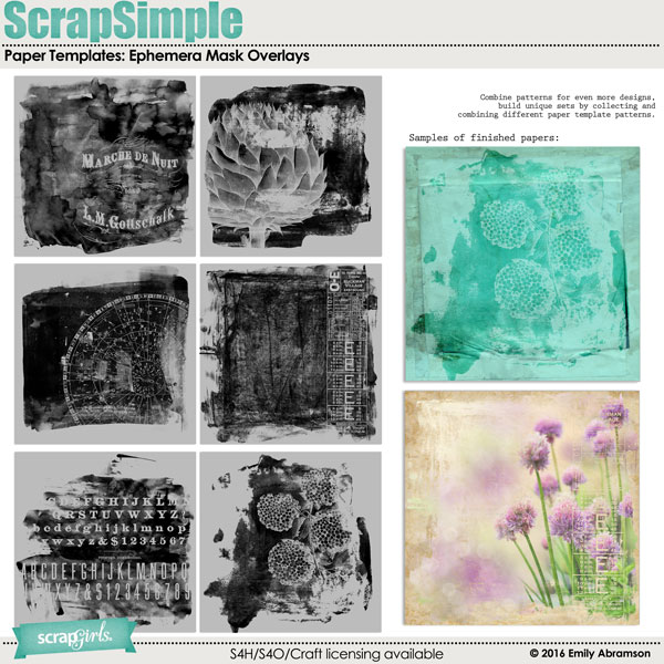 ScrapSimple Paper Templates: Ephemera Mask Overlays