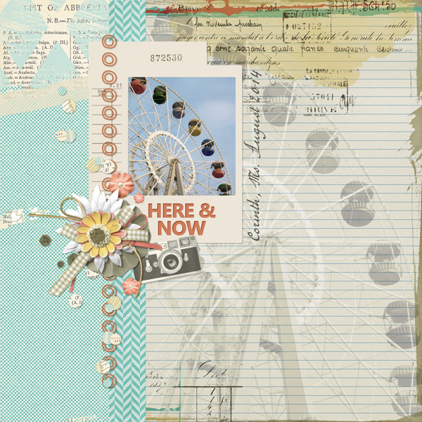 """Here and Now"" layout created with Tattered Memories Paper Mini"