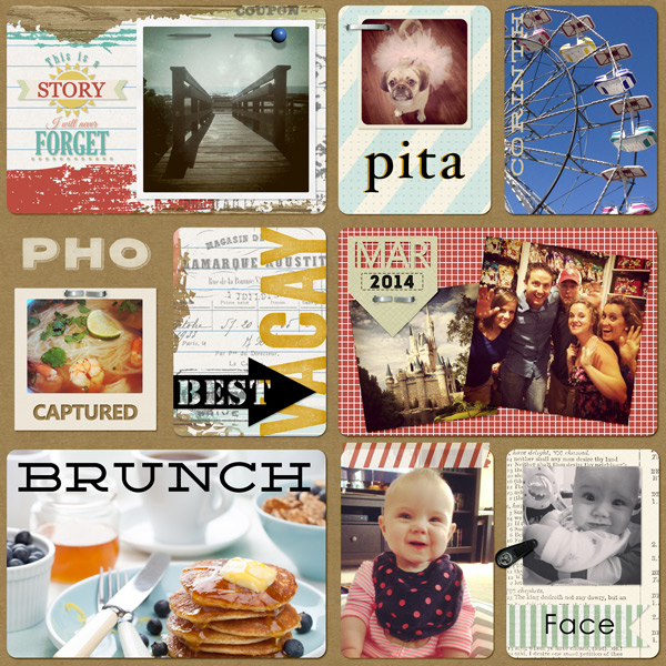 """Pho"" Pocket Life layout created using Tattered Memories Pocket Life Cards"