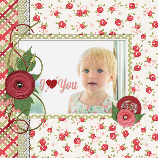 """""""I Heart You"""" layout created using the Tickled Pink Collection Biggie"""