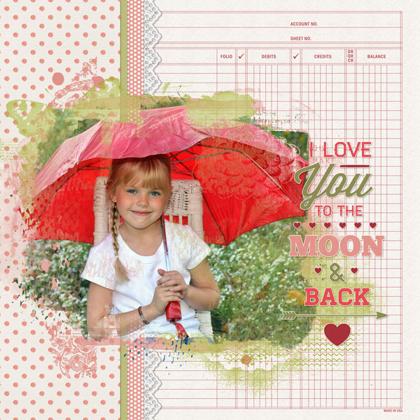 """""""To the Moon and Back"""" layout created using the Tickled Pink Collection Biggie"""