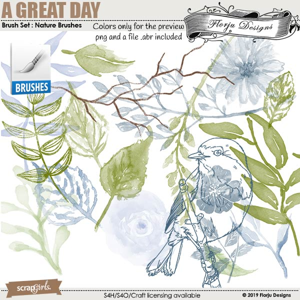 Brush Set : Nature Brush A Great Day by Florju designs