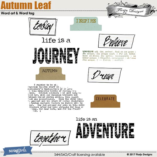 Autumn Leaf Word Art & Stamp by florju designs