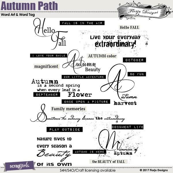 Autumn Path Word art and Word tag by florju designs