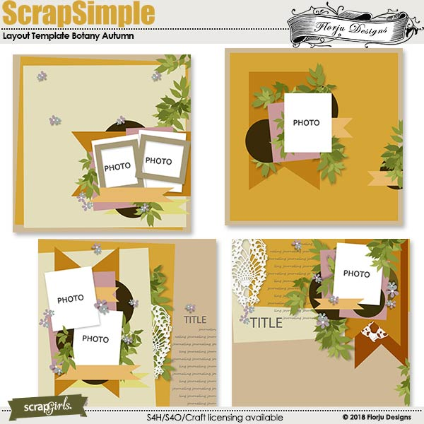 ScrapSimple Layout template: Botany Autumn Template by Florju designs