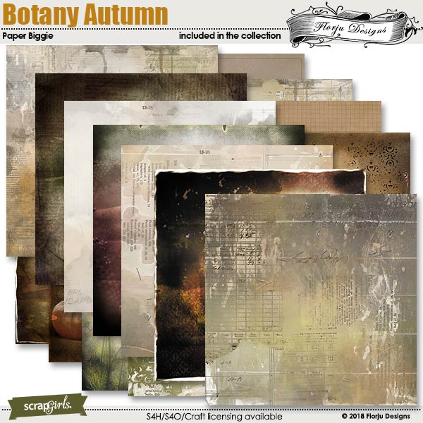 Botany Autumn Papers by florju designs