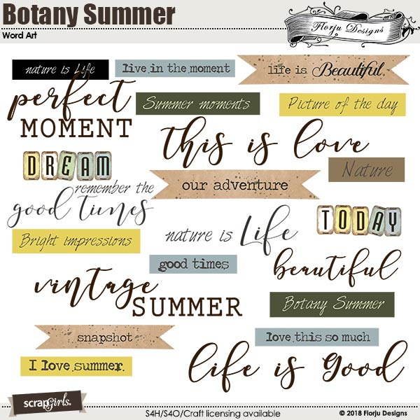 Botany Summer Word Art by Florju designs