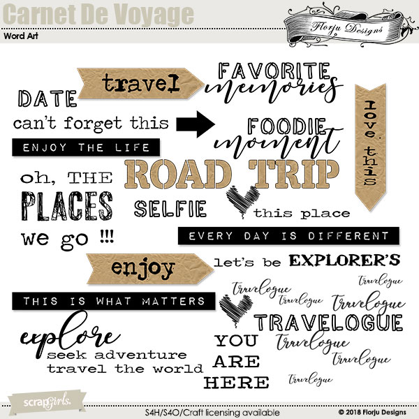 Carnet De Voyage Word art and Word tag by florju designs