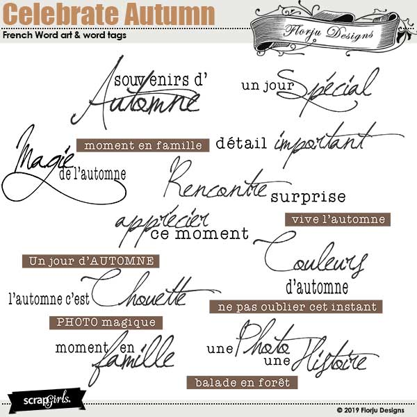 Celebrate Autumn french Word art by Florju Designs