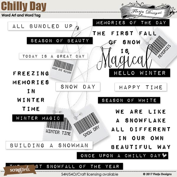 Chilly Day Embellishment mini: Cluster Pack Word art and Word Tags by florju designs