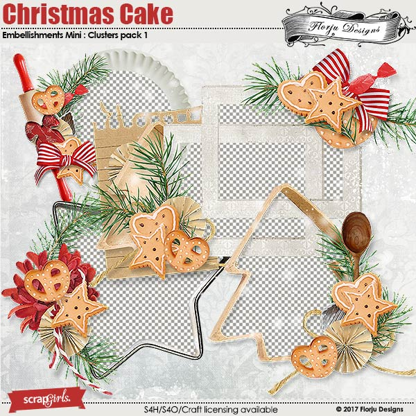 Christmas cake Embellishment Mini: Cluster Pack 1 by florju designs