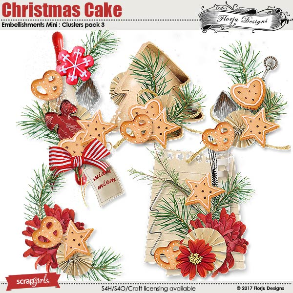 Christmas cake Embellishment Mini: Cluster Pack 3 by florju designs