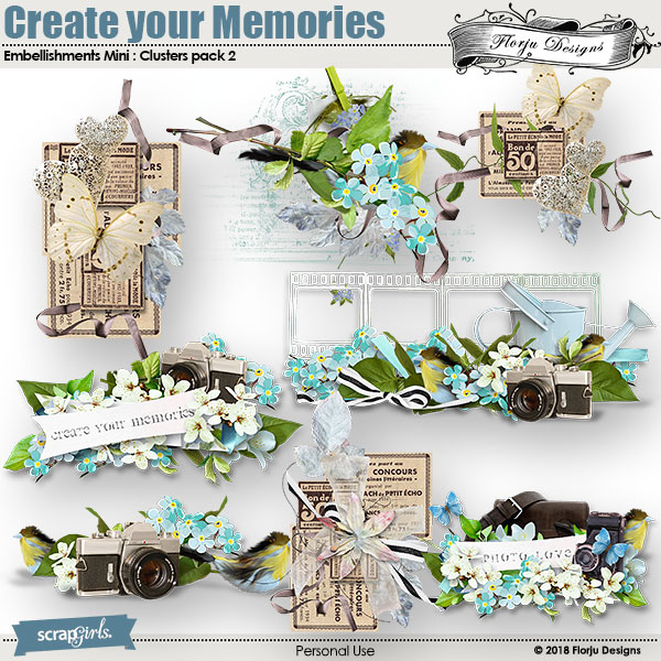 Create Your Memories Embellishment mini: Cluster 2 by florju designs