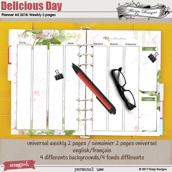 Planner 2018 A5 Delicious Day: Week 2 Pages by florju designs