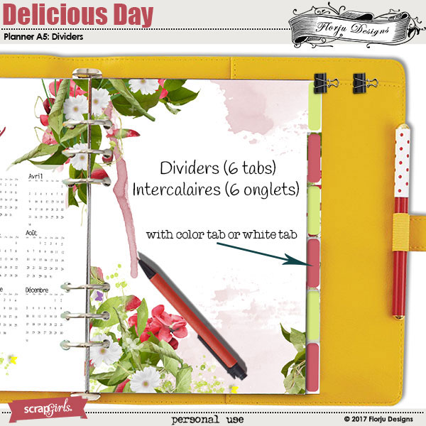 Planner 2018 A5 Delicious Day: Dividers by florju designs