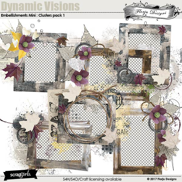 Dynamic Visions Embellishment Mini: Clusters Pack 1 by florju designs