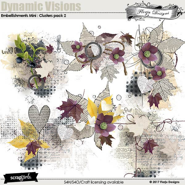 Dynamic Visions Embellishment Mini: Clusters Pack 2 by florju designs