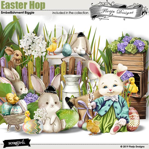 Easter Hop Embellishment Biggie by Florju Designs