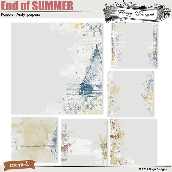 End of SUMMER Artsy Papers by Florju Designs