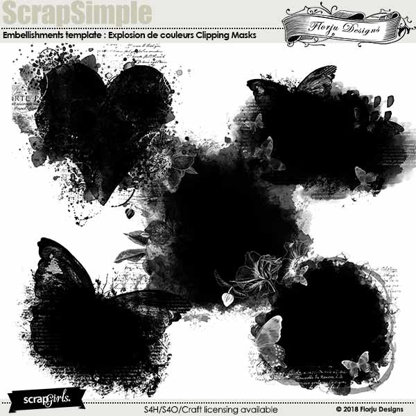 ScrapSimple Embellishment template : Explosion De Couleurs Clipping Mask by florju designs