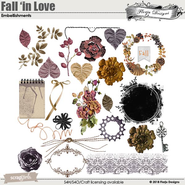 Fall'in Love Embellishment by florju designs