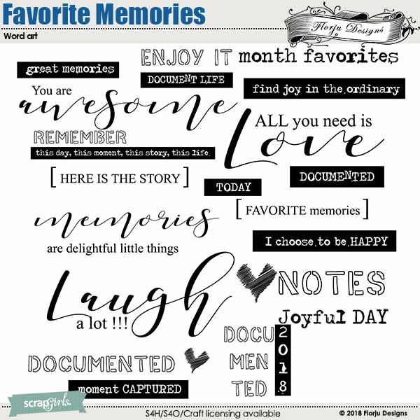 Favorite Memories Word Art and Word Tag by florju designs