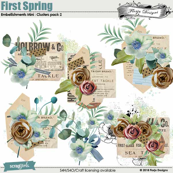 First Spring Embellishment Mini : Cluster Pack 2 by florju designs