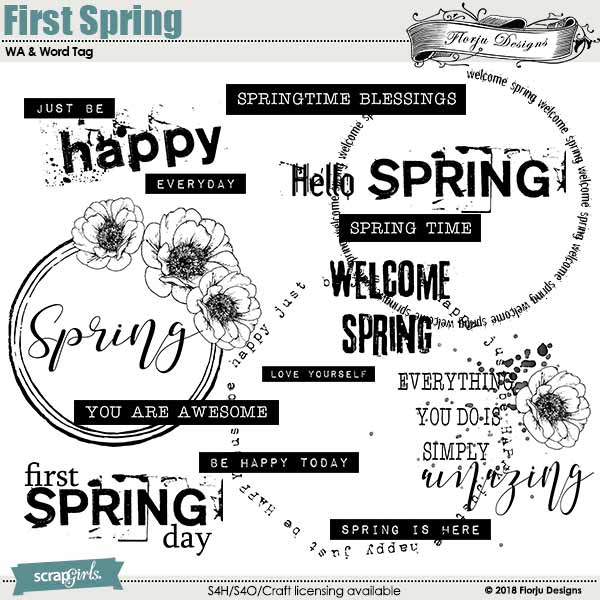 First Spring Word Art and Word Tag by florju designs