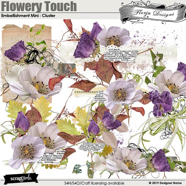 Flowery Touch Embellishments Mini : Clusters by Florju Designs