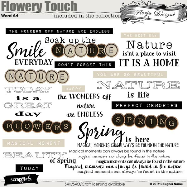 Flowery Touch English Word art and Word Tags by Florju Designs