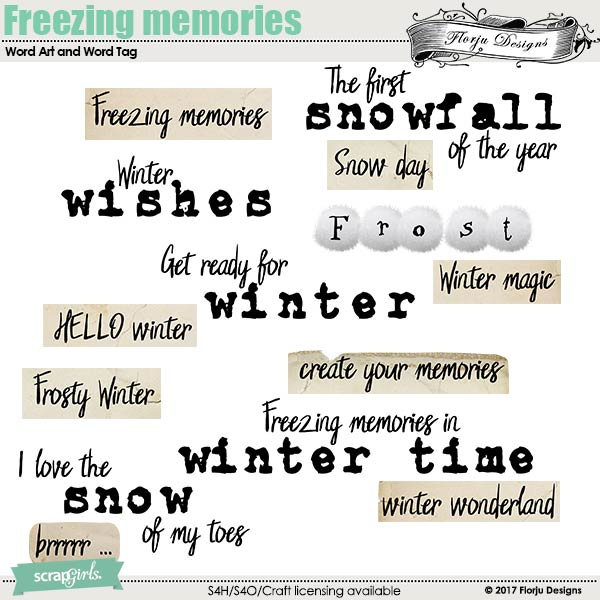 Freezing Memories Word Art and Word Tag by florju designs