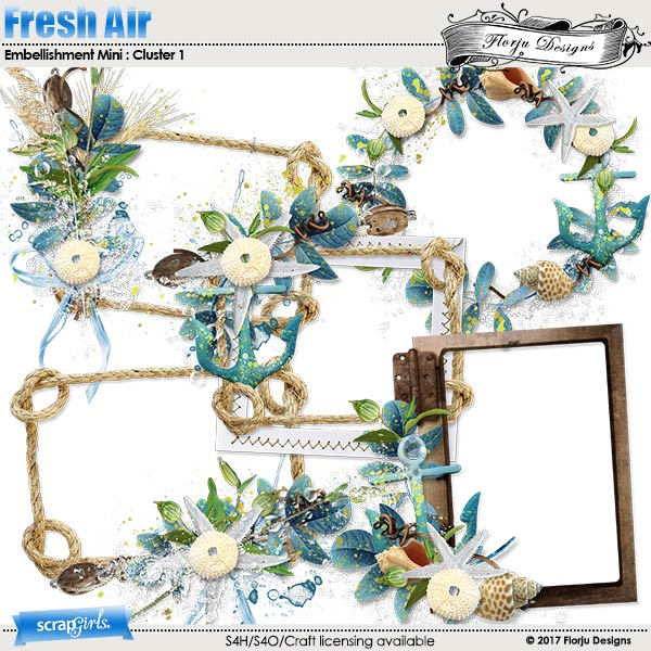 Fresh air Embellishment Mini Cluster Pack 1 by Florju designs