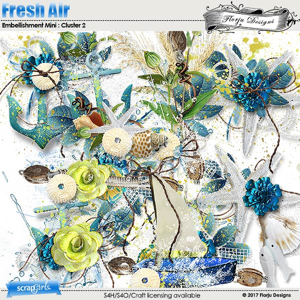 Fresh air Embellishment Mini Cluster Pack 2 by Florju Designs