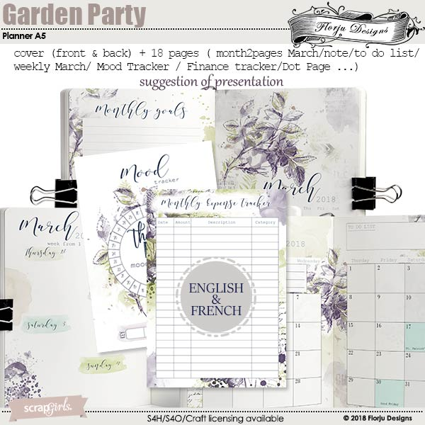 Garden Party Time Planner A5 Notebook A5 by Florju designs