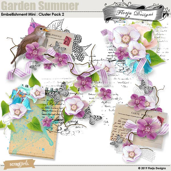 Garden Summer Embellishment Mini : Clusters pack 2