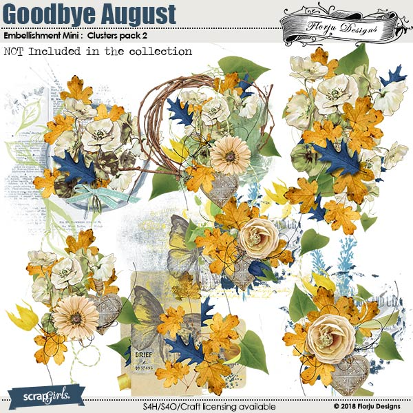 Goodbye August Embellishment Mini : Cluster 2 by Florju designs