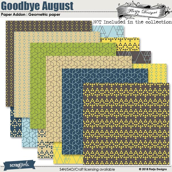 Goodbye August Addon Paper : Geometric Paper by Florju designs