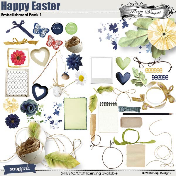 Happy Easter Embellishment : Pack 1 by florju designs