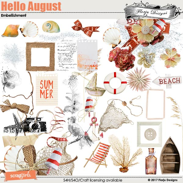 Hello August Embellishment by florju designs