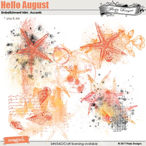 Hello August Embellishment Mini: Accent by florju designs